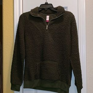 Olive Green Sherpa 3/4 Zip Up Sweater